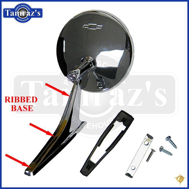 Chevy Chrome Round BOWTIE Rear View SMOOTH Base Door Side Mirror /& Hardware PAIR