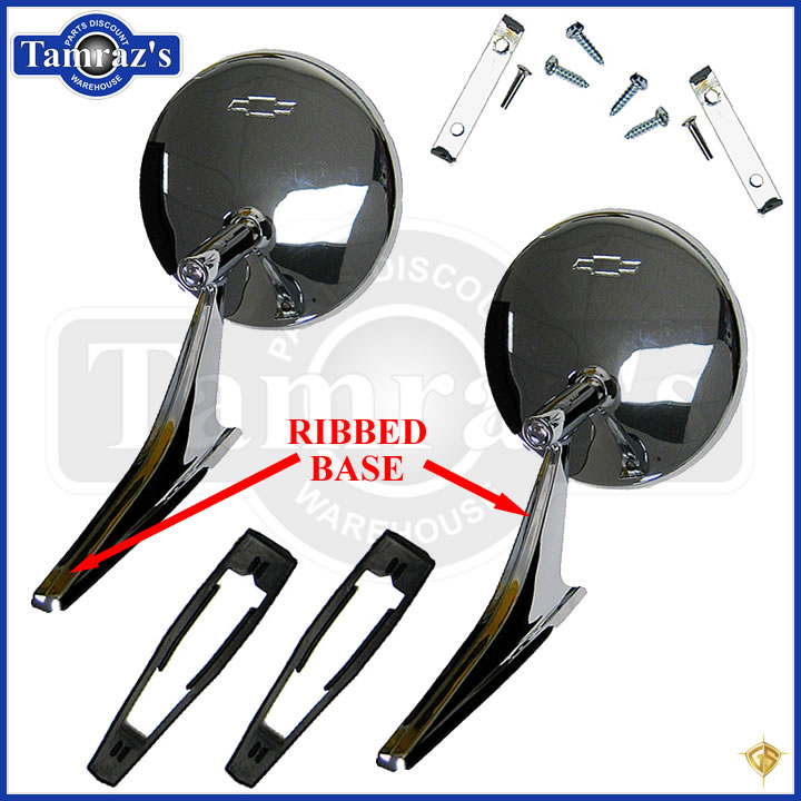 Chevy Chrome Round Bowtie Rear View Ribbed Base Door Side