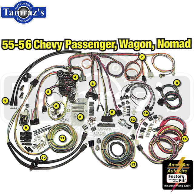 55 56 chevy classic update series complete body interior wiring harness kit ebay. Black Bedroom Furniture Sets. Home Design Ideas