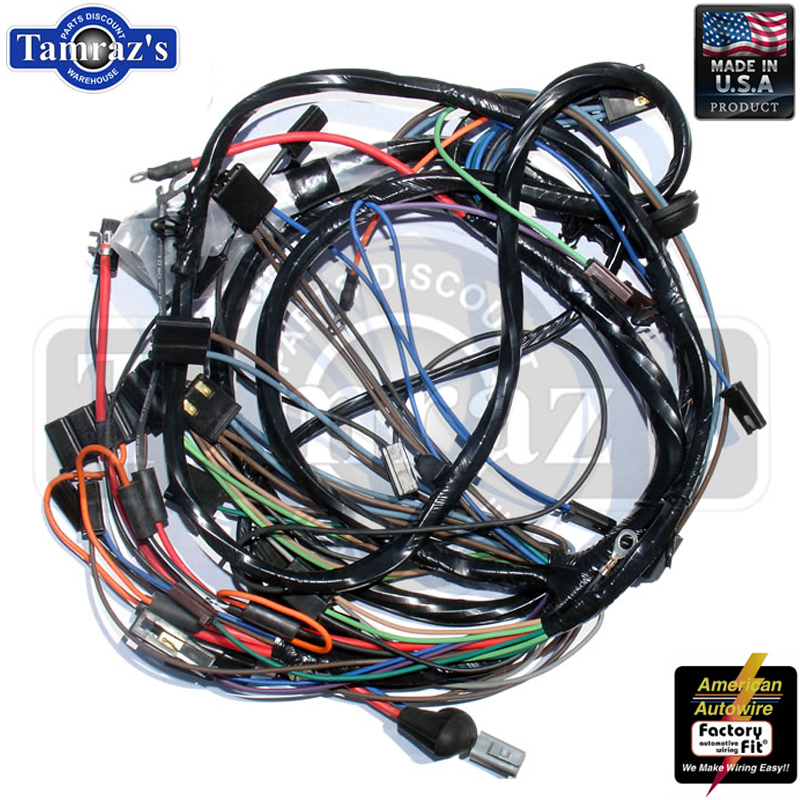 ca72098 67 camaro rs front light lamp wiring harness gauges v8 rally Wire Gauge at mifinder.co