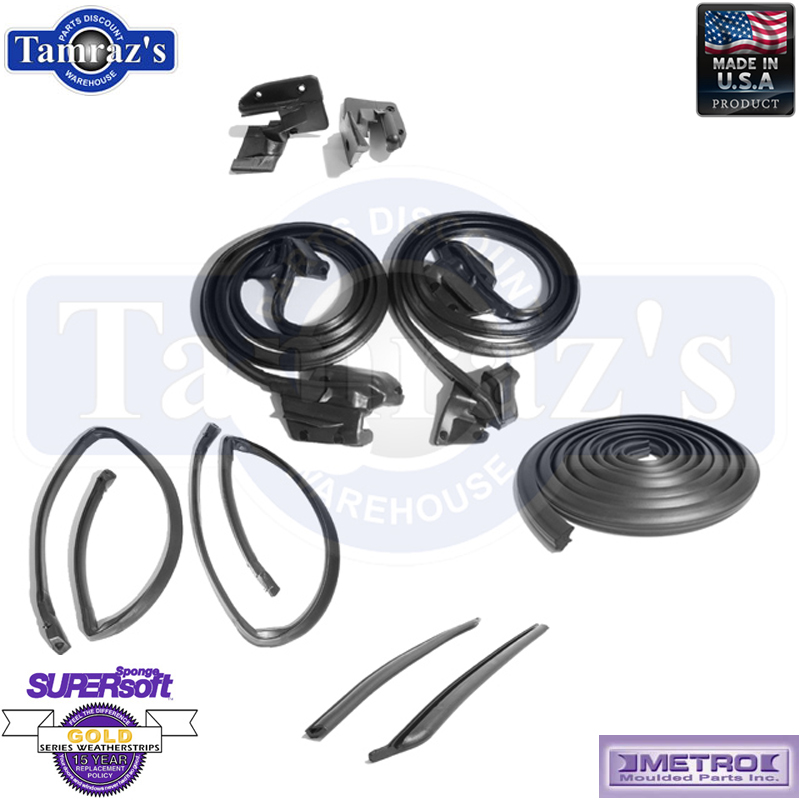 69-72 GTO LeMans Tempest Weatherstrip Seal Kit 5 Pieces 2 Door Hardtop W//O Post
